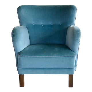 Mogens Lassen Style Danish 1940s Lounge or Club Chair in Mohair For Sale