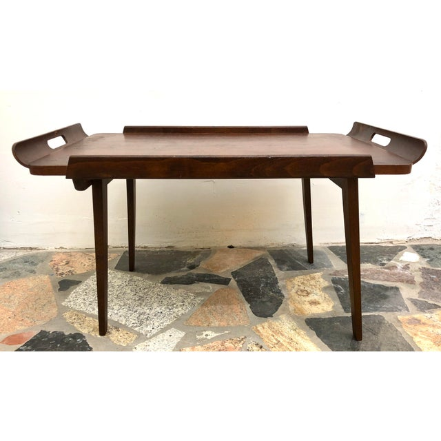 Brown Mid-Century Modern Danish Style Folding Rolling Bar / Tea Cart For Sale - Image 8 of 13