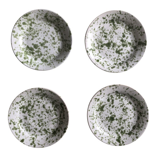 Penny Morrison Green Speckled Ceramic Plates - Set of 4 For Sale