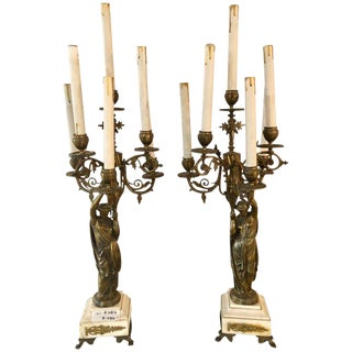 A Pair of 19th Century Neoclassical Style Figural Bronze Candelabras