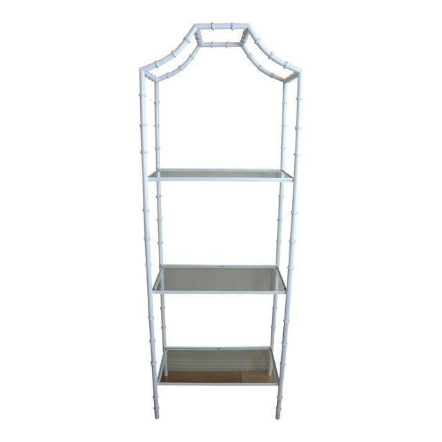 White White Faux Bamboo Etagere Shelf For Sale - Image 8 of 8