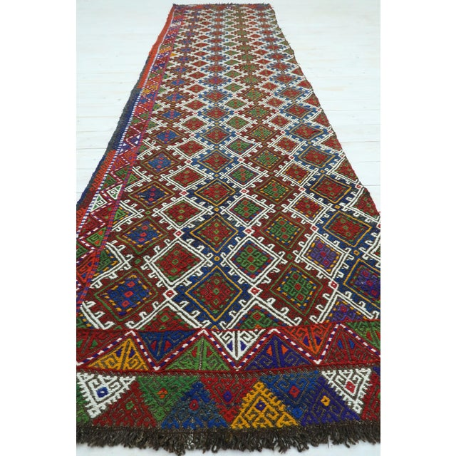 "Boho Chic Vintage Anatolian Kilim Runner-2'11'x11'2"" For Sale - Image 3 of 13"
