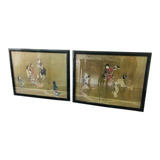 Late 20th Century Chinoiserie Samurai Wall Art Ll - a Pair For Sale
