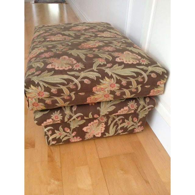 Custom Tapestry Upholstered Ottoman - Image 3 of 4
