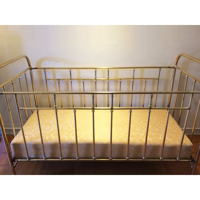 Vintage French Solid Brass Baby Crib For Sale - Image 5 of 11
