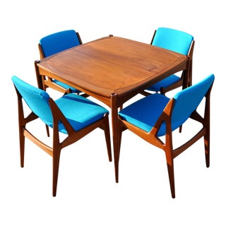 Mid-Century Modern Teak Danish Dining Arne Vodder Ella Chairs & Table - 5 Pieces For Sale