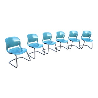 Mid-Century Modern Molded Cantilever Chairs Signed Herman Miller - Set of 6 For Sale