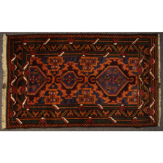 2010s Hand Kotted Tribal Afghan Rug - 3′7″ × 6′ For Sale - Image 5 of 5