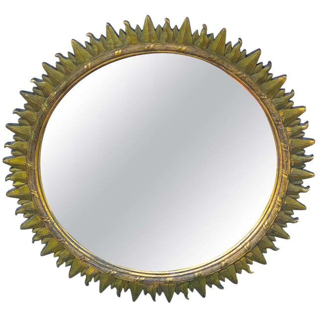 French Modern Giltwood Sunburst Mirror For Sale