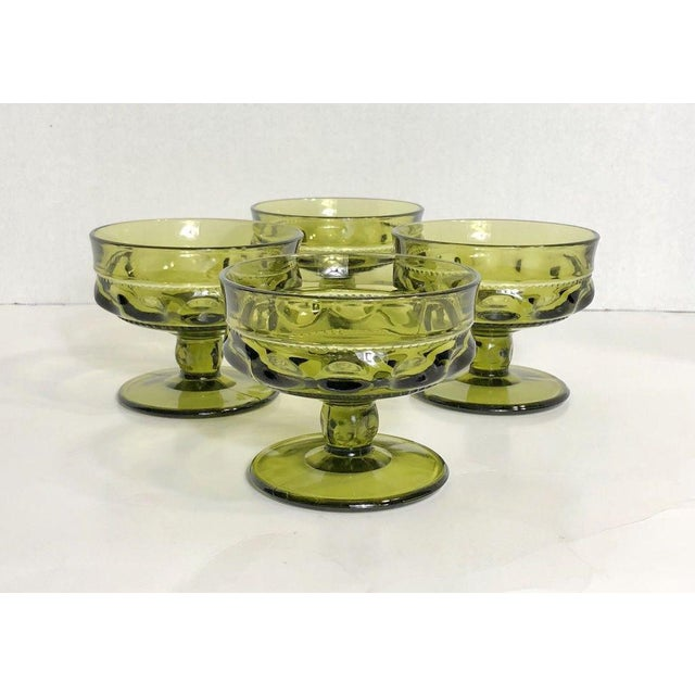 Mid 20th Century Vintage Verde Thumbprint Kings Crown Style Green Glasses - Set of 4 For Sale - Image 5 of 5