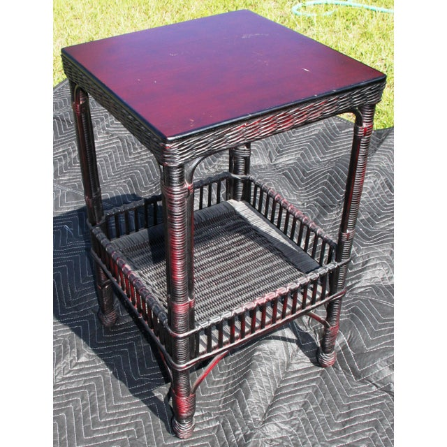 2010s Boho Chic Palacek Rattan /Wicker Side Tables - a Pair For Sale - Image 5 of 8