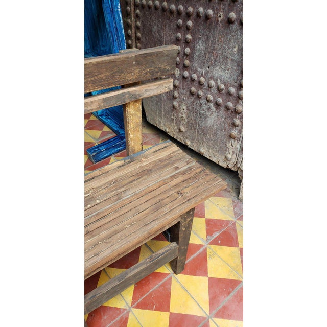1980s Vintage Moroccan Handmade Old Wood Park Bench For Sale In Orlando - Image 6 of 8