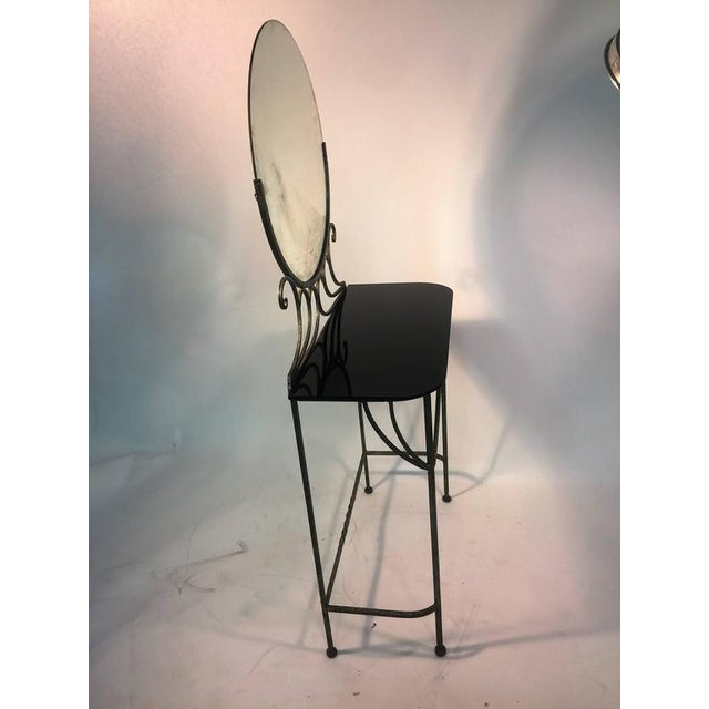 1930s BEAUTIFUL ART DECO WROUGHT IRON VANITY AND CHAIR BY FERRO BRANDT For Sale - Image 5 of 11