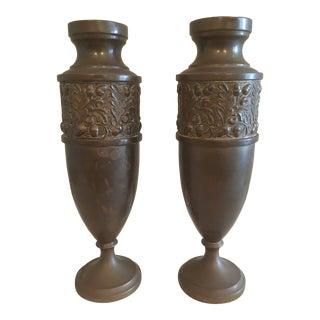 Art Deco Brass Repousse Vases - a Pair For Sale