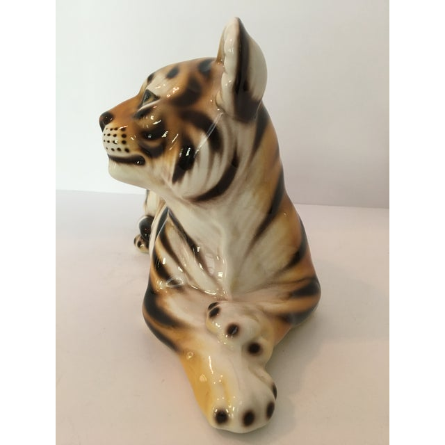 Large Scale Mid Century Italian Hand Painted Majolica Resting Tiger For Sale - Image 4 of 13