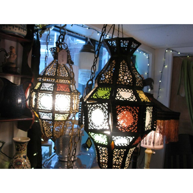 Antique Hanging Moroccan Lanterns - A Pair - Image 4 of 9