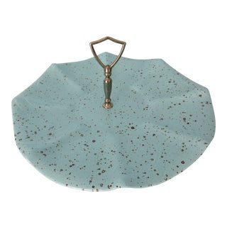 Turquoise California Pottery Speckled Serving Tray For Sale