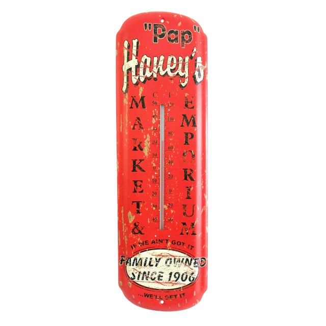 Pap Haney's Market Emporium Rustic Wall Thermometer For Sale
