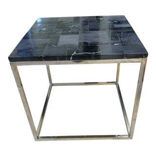 h.d. Buttercup Stone + Chrome Side Table For Sale