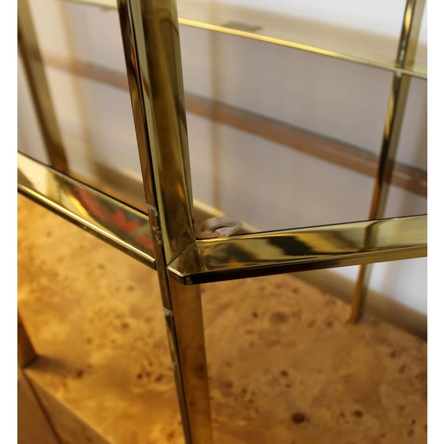 Milo Baughman Mid Century Modern Milo Baughman Burl Wood Credenza Brass Etagere Glass Shelves For Sale - Image 4 of 8