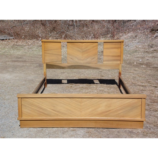 Art Deco Vintage 1950's Mid Century Modern Art Deco style Double Full Bed Frame For Sale - Image 3 of 10