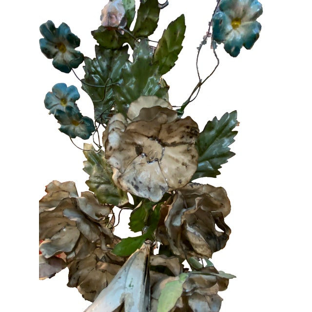 French 19th Century French Tole Floral Topiaries - a Pair For Sale - Image 3 of 7