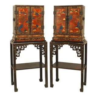 19th Century Chinese Lacquered Cabinets - a Pair For Sale