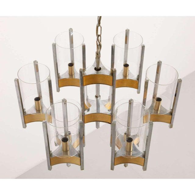 Sciolari Brass Glass Sculptural Chandelier,1970s For Sale - Image 10 of 11