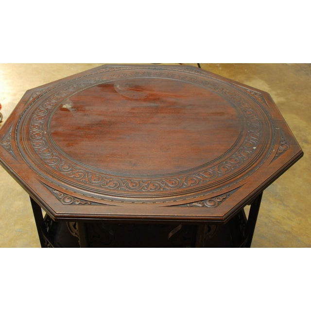 Middle Eastern Octagonal Relief Carved Top Table - Image 4 of 6