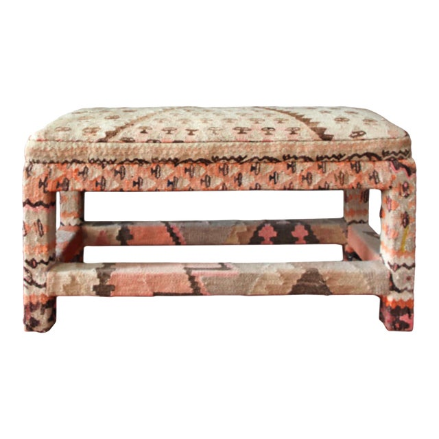 Late 20th Century Kilim Upholstered Bench For Sale