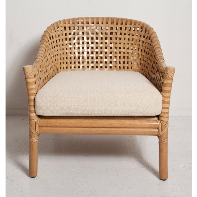 Vintage Woven Leather Armchair and Ottoman Set by McGuire For Sale - Image 9 of 13