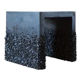 Hand Made Side Table of Black Tourmaline and Black Plaster, by Samuel Amoia