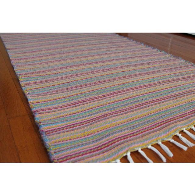 Flat Weave Wool Striped Pink Kilim Rug - 2'8'' x 7'6'' - Image 5 of 9