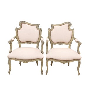 Kravet Upholstered Louis XV Style Asymmetrical Armchairs, a Pair For Sale