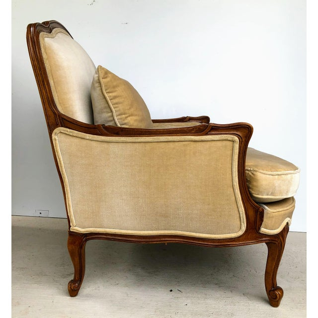 Tan Weiman Queen Anne Bergere Arm Chairs in Wheat Velvet- A Pair For Sale - Image 8 of 13
