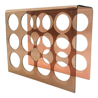 1960s Copper Tint Acrylic Wine Rack For Sale