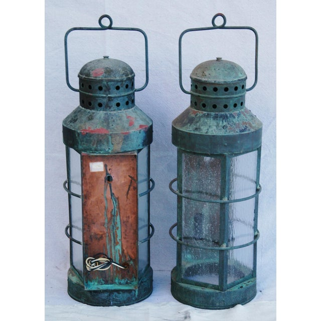 Nautical Copper Lantern Wall Sconces- A Pair - Image 12 of 12