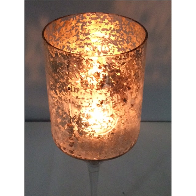 Tall Modern Cylindrical Mercury Glass Candleholder - Image 5 of 6