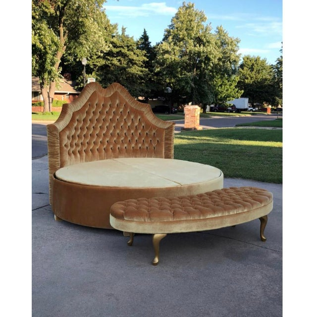 Custom Furniture Builders Round Upholstered Tufted Bed For Sale - Image 4 of 7