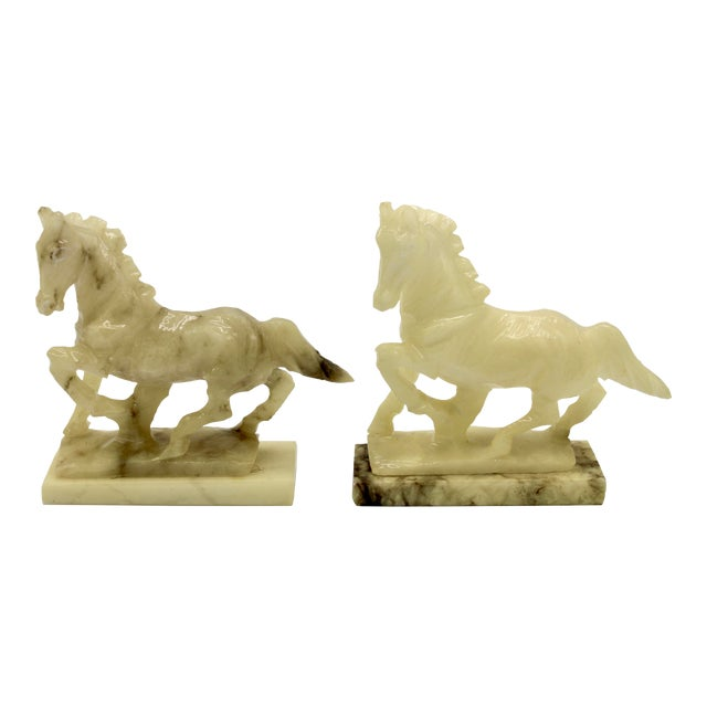 Mid-20th Century Italian Alabaster Mantle Horse Bookends - a Pair For Sale