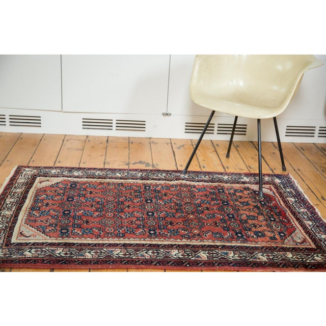 A handsome, vintage Persian rug with a softer than usual (with this type) cherry red and truly beautiful lavender and...
