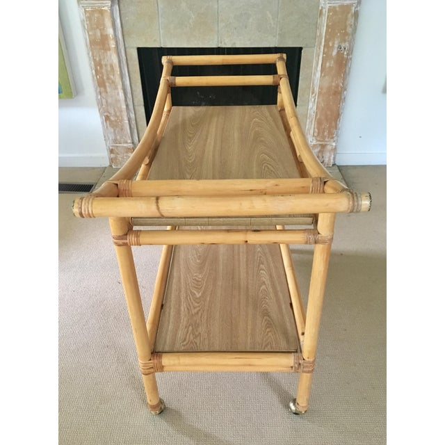 Mid-Century Bamboo Bar Cart For Sale In New York - Image 6 of 10