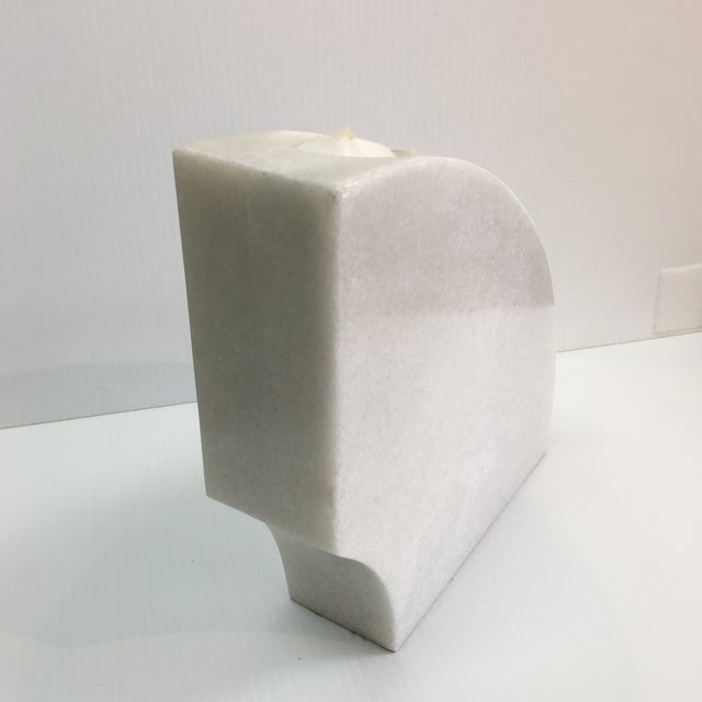 Contemporary Half Round Marble Candleholder For Sale - Image 3 of 5