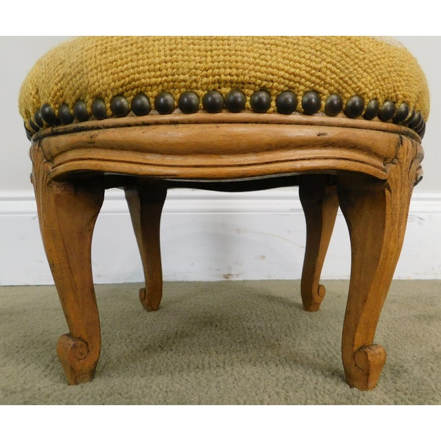 French Louis XV Style Antique Small Needlepoint Footstool For Sale - Image 11 of 13