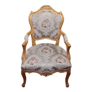 21st Century French Bergere Louis XV Bergere, French Chair, Handmade, Antique Vintage Furniture Reproduction , Victorian For Sale