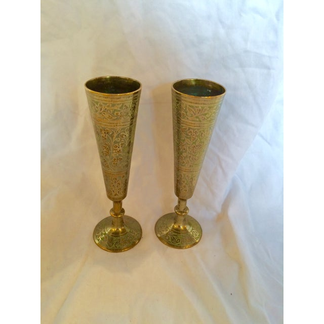 Brass Champagne Flutes - A Pair - Image 5 of 7