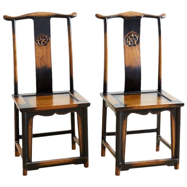 Chinese Dragon Carved Yoke Back Official's Hat Chairs For Sale
