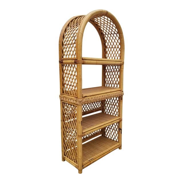 Vintage Boho Chic Bamboo Rattan Etagere Bookshelf For Sale