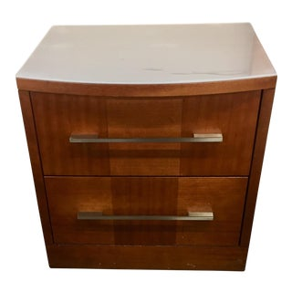 Contemporary Modern Maple Parquet & Brushed Silver Nightstand