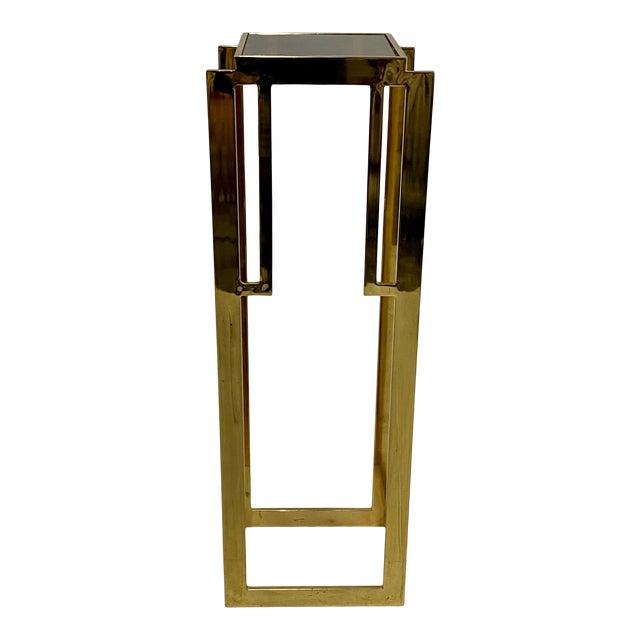 Mastercraft Hollywood Regency Style Patinated Brass Pedestal For Sale